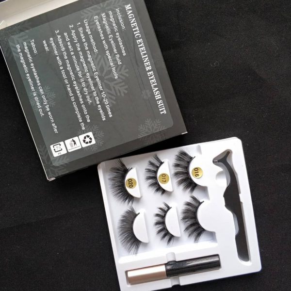 3 sets 5D magnetic lashes with eyeliner